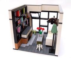 Urban Loft (Razzle-Jazzle) Tags: city urban architecture loft design fireplace lego interior bookshelf brickhamster