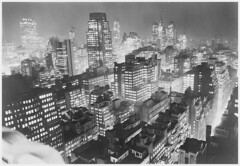 New York City at night. Photographs (1934-1956) by Leslie Jones (cobravictor) Tags: skyline skyscrapers midtownmanhattan lowermanhattan downtownmanhattan newyorkcity ny aerial lights panorama oldpics vintagenewyork