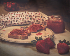 Strawberry Jam (extremely fickle) Tags: morning red food breakfast strawberries jam lightanddark