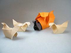 Hen and Chicks - Yara Yagi (Rui.Roda) Tags: galinha origami y chicks poule hen papiroflexia yara yagi gallina pollitos pintos poussins papierfalten