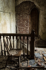 Greeter (Rodney Harvey) Tags: urban abandoned church st stairs louis chair waiting arch decay gothic missouri banister urbex greeter