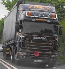 G Owen FJ60 AYB near Newtown (Joshhowells27) Tags: scania r480 curtainsider newtown blue lorry