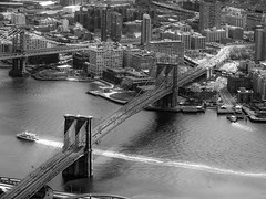 Brooklyn (karinavera) Tags: city travel bridge blackandwhite newyork brooklyn day cityscape view manhattan aerial nikond5300