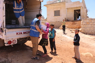 Collecting Ramadhan provisions for the family in West Aleppo