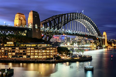 Sydney Harbour Bridge (tonyg1494) Tags: longexposure bridge sky water night clouds lights dusk sydney vivid australia nsw bluehour sydneyharbourbridge vivdcolour d5300 nikond5300 vivid2016