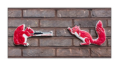 Graffiti (Chinagirltile), South London, England. (Joseph O'Malley64) Tags: uk greatbritain england streetart london wall tile graffiti squirrels britain rifle weapon handpainted british walls southlondon brickwork tiling redsquirrels chinagirltile bondedtile