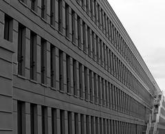 Lignes de vies - Lines of life (p.franche internet problems) Tags: brussels urban blackandwhite blanco window monochrome metal stairs europe belgium belgique noiretblanc geometry negro perspective bruxelles line panasonic dxo symetry brussel zwart wit gomtrie hdr fenetre ligne escaliers architetcure symtrie  belge schwarzweis mustavalkoinen inbiancoenero architectury svartochvitt flickrelite  bestofbw fz200  pascalfranche pfranche skancheli hpitalbrugmann  brugmannhospital