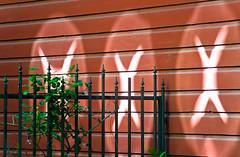 Secret Alien Signal Glyphs (Orbmiser) Tags: light house wall oregon fence reflections portland nikon alien x symbols summmer d90 55200vr