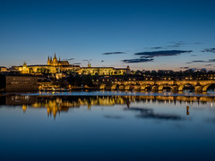 Czech Republic - Prague - Charles bridge and the Castle of Prague (viaggiatore16) Tags: reflection nightscape prague prag praha olympus tschechien czechrepublic olympusomd