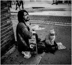 Old memories: A sing-a-song-writer playing his old guitar , cat is drawning people by doing his adorable face! (SUNA_PHOTOGRAPHY) Tags: blackandwhite bw monochrome square memories streetartist