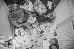 Debt Mis-Management (NVOXVII) Tags: paper paperwork debt finance bnw blackandwhite monochrome sombre household indoor planview fromabove concept modernart reality nikon contrast bills receipts house family perspective composition