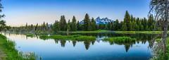 (dcollins1215) Tags: panorama mountain reflection sunrise landscape wyoming jacksonhole grandtetonnationalpark gtnp schwabacherlanding