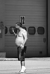 Hey there ! (Eric_G73) Tags: road street people blackandwhite bw man noiretblanc candid border streetphotography roadtrip nb belly tummy aire frontier restarea truckdriver candidphotography airederepos tunneldumontblanc