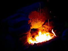 Fire under the Moon light.. (PhotoScientist) Tags: wood eve blue winter light moon cold colors yellow night dark relax fire cool warm alone sony burning flame burnt moonlight pointandshoot coal pune warming joyous eveninglight enlighten lighttrail icapture wx50 sonywx50