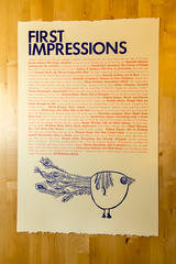 First Impressions Broadside (Meredith Purvis) Tags: book mfa linocut ub bookbinding graduates bookarts broadside woodtype paperarts 2013 letterpressprinting finepressprinting vandercook20 plorkbird universityofbaltimoremfaincreativewritingandpublishingarts