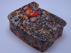 Oregen State Trinket Box (polymerclaycreations) Tags: orange black handmade polymerclay oregonstatebeavers mokumegane trinketbox pcagoe polymerclaycreations angelahickey
