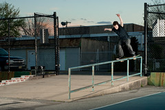 Scott O'Rourke - B/S Boardslide (billycox) Tags: sunset philadelphia scott nikon nocturnal skateboarding bs ad cox billy handrail skater d200 boardslide skateshop orourke