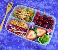 Salmon, Tomato Relish, and Slaw Bento (sherimiya ) Tags: school cheese lunch kid healthy strawberry cherries cucumber sheri salmon pasta delicious homemade relish slaw cabbage garlic bento carrots pickled shallots spinach blueberries obento cherrytomato sherimiya
