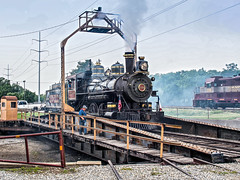 GVRR 2248 (Puffy) on the Turntable! (Paul A Valentine) Tags: railroad vintage texas antique wheels trains olympus turntable puffy railwaystations grapevine trainstations steamtrains passengertrains passengercars em5 vintagetrains gvrr olympusem5