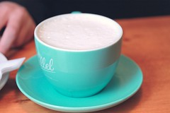 Chai Latte (technicolor dreams) Tags: blue hot film canon cafe pretty tea drink turquoise beverage grain t3 grainy latte chai 1100d