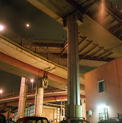 tiburtina (Ponchie Hoya) Tags: street camera urban roma 120 6x6 film night long exposure g mat 124 medium format yashica analogic tiburtina
