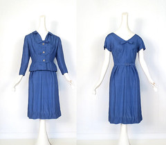 1940s azure shantung bow dress and peplum jacket set (Small Earth Vintage) Tags: blue vintage clothing women dress azure 1940s jacket bow 40s dressset peplum shantung smallearthvintage