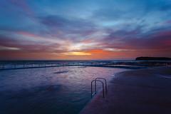 Sunrise swim (John Clark 2099) Tags: ocean longexposure water landscape dawn sydney australia pacificocean nsw slowshutter newsouthwales saltwater rockpool 1740l northernbeaches collaroy ndfilters seascpae 2013 5dii collaroypool