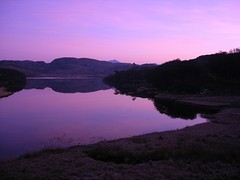 Purple evening view from the loch room