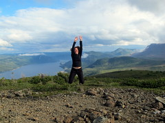 Newfie Superhero (Canadian Veggie) Tags: travel vacation newfoundland emily jump jumping hiking lookout hike leap leaping grosmorne grosmornenationalpark lookouttrail westernnewfoundland