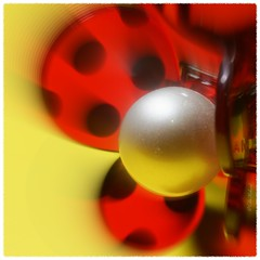 Going Round and Round makes me dizzy ...! (Colink321 - Slowly returning ...) Tags: red black silver fun circles sphere round ladybird pearl macromondays