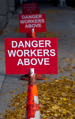 Danger Workers Above (Orbmiser) Tags: autumn orange signs fall oregon warning portland nikon sidewalk caution cones d90 menworkingabove nikon28105mmf3545afd