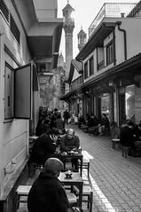 Konya (Edib Unal) Tags: street people bw sun coffee turkey locals tea minaret relaxing istanbul blacknwhite turkish konya x100