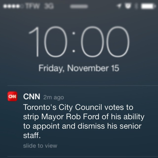 BREAKING: #Toronto City Council strips Mayor Rob Ford of power to appoint/dismiss staff. #politics #Canada #news