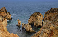 The Algarve (rschnaible) Tags: ocean sea color portugal water coast sandstone colorful europe view cliffs lagos atlantic coastal western vista geology algarve the seacape geologic