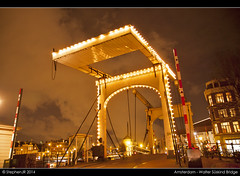 Walter Suskind Bridge in Amsterdam (StephenJR) Tags: longexposure bridge walter netherlands amsterdam night river brug amstel 2014 nieuweherengracht suskind sskind waltersskind