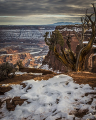 Dead Horse Point c (ssnidey) Tags: statepark sunset sky mountain snow cold tree water rock skyline clouds river landscape utah canyon deadhorsepoint coloradoriver moab backside redrock overlook juniper d7100