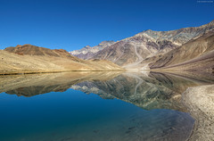 come sit with me here...in silence (CoSurvivor) Tags: morning india lake mountains reflection nature landscape mirrorlake valley himalaya stillness himachal spiti moonlake ramsar chandratal highaltitudelake incredibleindia cosurvivor