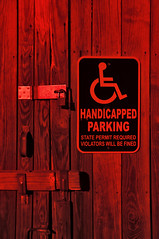 Handicapped Parking (Curtis Gregory Perry) Tags: door hinge wood red sign nikon lock provincetown massachusetts parking handicapped latch d300
