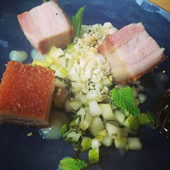 "Pork Belly with compressed pear, yuzu and mint <a style=""margin-left:10px; font-size:0.8em;"" href=""http://www.flickr.com/photos/30579997@N08/12554920575/"" target=""_blank"">@flickr</a>"