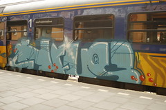 station groningen. eindbestemming van deze trein (46) (Peter Beishuizen) Tags: station graffiti ns peter groningen trein beishuizen