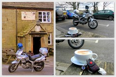 Cappuchino break.. (Mike-Lee) Tags: bike collage sheffield picasa navi strines outforaride feb2014 cagivanavigator1000 cappuchinobreak