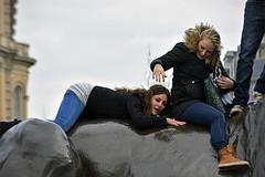 Girls having Fun (The Image Den) Tags: girls people london laughing candid lion streetphotography trafalgarsquare climbing achievement awayday