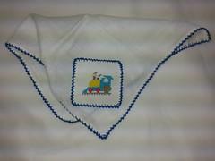 Fralda de Boca - Trenzinho F005 (SaluArts) Tags: de pano cruz infantil bebê boca ponto paninho fralda fraldinha enxoval