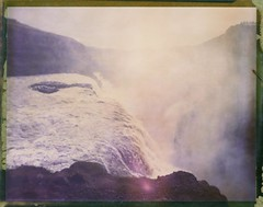 Mist And Sound (Bastiank80) Tags: camera trip wild mist color film nature field analog polaroid waterfall iceland stream large august sound instant 4x5 sheet format expired gullfoss 79 wista bastiank