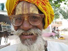 India (gerben more) Tags: travel musician india man smile smiling beard temple oldman shiva holyman saddhu orccha