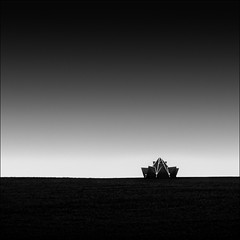 Landing module (Turnvater Janosch) Tags: blackandwhite bw abstract monochrome field dark landscape meadow lookout minimal outlook viewpoint minimalist