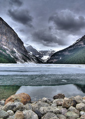 Lake Louise (elementalPaul) Tags: canada reflection ice water rockies frozen pentax pebbles alberta rockymountains freehand lakelouise hdr banffnationalpark canadianrockies photomatixpro 5xp k10d pentaxk10d