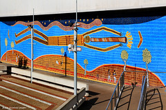 Mural on Wall at Adelaide Festival & Drama Centre Just Above Elder Park & Riverfront Promenade, Torrens River, Adelaide, South Australia (Black Diamond Images) Tags: adelaidefestivalcentre adelaidedramacentre elderpark riverfrontpromenade torrensriver adelaide southaustralia mural publicart indigenousart aboriginalart art explore bdi