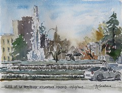 Plaza de la República Argentina (P.Barahona) Tags: madrid plaza agua fuente urbano delfines acuarelas rotulador