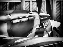 Merlin Pair - Hurricane & Spitfire (davepickettphotographer) Tags: uk museum monotone duxford cambridgeshire imperialwarmuseum iwm davepickettphotographer iwmduxforduk theimperialwarmuseumuk